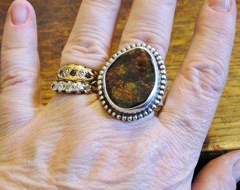 BIG Fire Agate Ring, Sterling Silver, Sz 11.75, Handmade, Unique