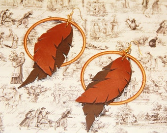 Boho Chic, Leather Feather Gold Large Hoop Earrings, Autumn Tones
