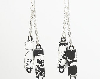 Comic Book Jewelry- Upcycled Black & White Comic Book Paper Bead Earrings, Silver Chain Earrings, Paper Bead Jewelry, Comic Book Lover Gift