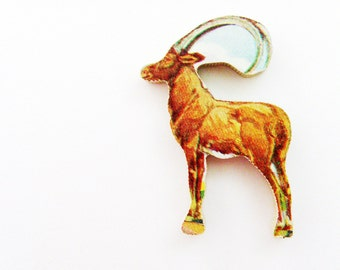 1960s Impala Antelope Brooch - Pin / Unique Gift Under 50 / Upcycled Vintage Hand Cut Wood Jewelry / Brown Jungle Animal Pin
