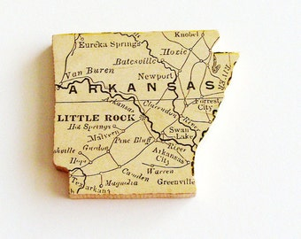 1907 Arkansas Brooch - Pin / Unique Wearable History Gift Idea / Upcycled Antique Wood Jewelry / Timeless Gift Under 50