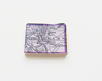 1915 Colorado Brooch - Pin / Unique Wearable History Gift Idea / Upcycled Antique Wood Jewelry / Timeless Gift Under 50