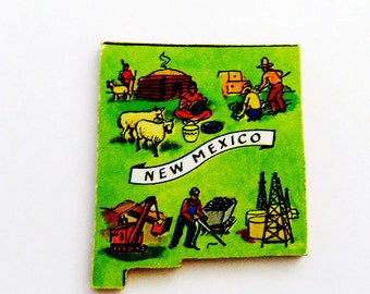 1960s New Mexico Brooch - Pin / Unique Wearable History Gift Idea / Upcycled Vintage Hand Cut Wood Jewelry / Timeless Gift Under 25