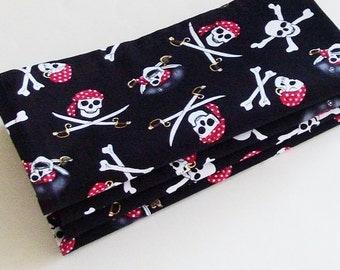 Ahoy! Pirates Cotton Napkins / Set of 4 / Black, White, Red, Gray Skull & Crossbones Eco-Friendly Table Decor / Gasparilla / Gift Under 50
