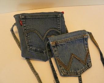 Zippered Crossbody Jean Pocket Small Upcycled Denim Bag