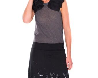 Lovely Design Skirt for Women, Women skirts plus size, Black Knee length A line skirt, Mid length skirt in XL/2XL/3XL - Woodland animals