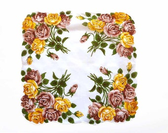 """Large Roses Handkerchief Bright Yellow Brown Blooms Green Leaves White Background Flower Shaped Edge Rolled Hem  17 1/4"""" Hankie Hanky"""