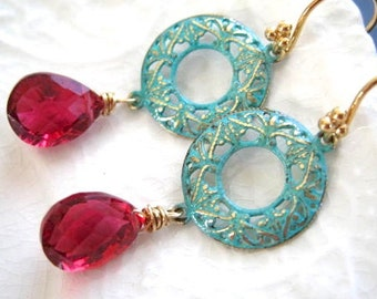 Brass Filigree Gemstone Earrings Turquoise blue and red
