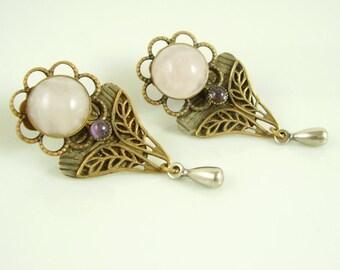 Vintage 1920's Art Nouveau Rose Quartz and Amethyst Drop Earrings, Vintage Rose Quartz and Amethyst Floral Earrings