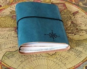 explorer journal with maps a travel journal - blue faux leather - moms, dads, grads gift