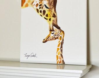 Giraffe #7 Original Painting Baby Kiss Goodnight, gouache watercolor, large art on canvas, 16x20