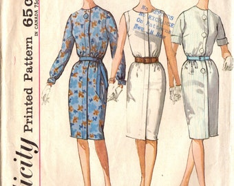 1960s Simplicity 4985 Vintage Sewing Pattern Misses Slim Step-In Dress Size 12 Bust 32, Size 14 Bust 34