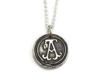 Wax Seal Letter Pendant - Silver Initial Necklace - Wax Seal Necklace - Vintage Inspired Charm - Handmade in Fine Silver