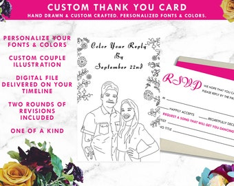 Color Your Reply Coloring Book Custom Printable Wedding RSVP Card, Wedding Invitation, Digital Download, Wedding Illustration Portrait