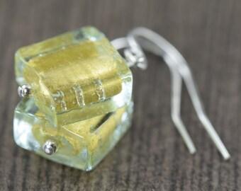 Gold glass earrings Murano glass earrings