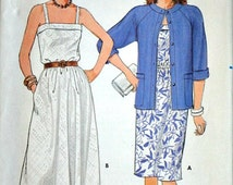 Misses' Jacket and Dress, Vintage 80's Butterick 6526 Fast & Easy Sewing Pattern, Size 14-16-18, Bust 36-38-40, Uncut FF, Summer Fashion