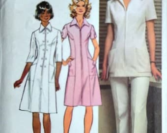 Vintage 1970's Simplicity 5268 Sewing Pattern, Nurse Uniform Dress Or Tunic And Pants, Size 12, 34 Bust, Factory Folded