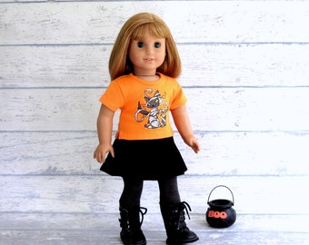 18 inch Doll Halloween Outfit, Kitty Mummy Shirt, Pleated Black Skirt, Striped Tights