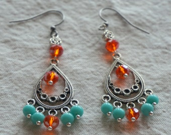 South Asian inspired chandelier teardrop earrings with tangerine crystal rondelles and vintage aqua glass beads