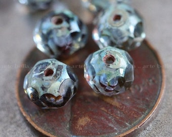 WICKED SKY TOTS .. 10 Picasso Czech Glass Rondelle Beads 6x4mm (3910-10)