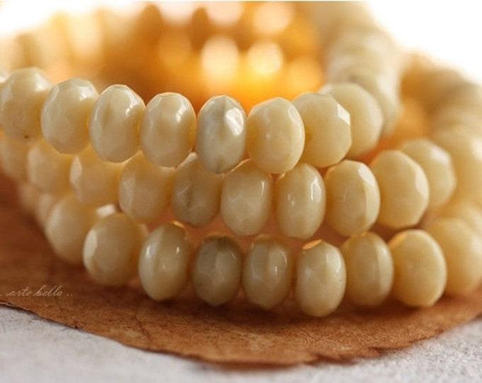 CREAM .. 30 Premium Czech Rondelle Glass Beads 3x5mm (4179-st)