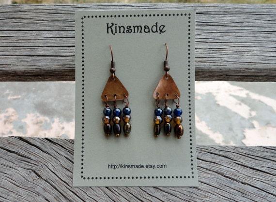 Brown & Blue Chandelier Earrings