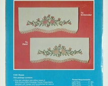 Vintage Pair of Stamped Pillowcases for Embroidery, Roses, WonderArt Pillow Case Pair, Kit Number 1125, New in the Package