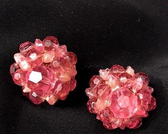 Vintage 1950s Lisner Earrings 50s Pink Crystal Cluster Clip On Signed Lisner Crystal Beads Earrings Retro Designer Costume Jewelry