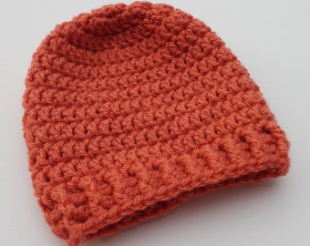 Newborn Crochet Hat, Orange Beanie, Baby Hat, Infant Photo Prop, Coming Home Hat, Baby Girl Hat, Baby Gift, Baby Boy Hat, Ready to Ship
