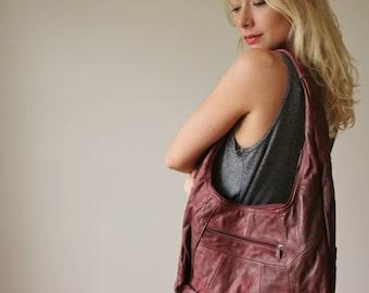 1980s Oversized Hobo Purse >> Genuine Leather