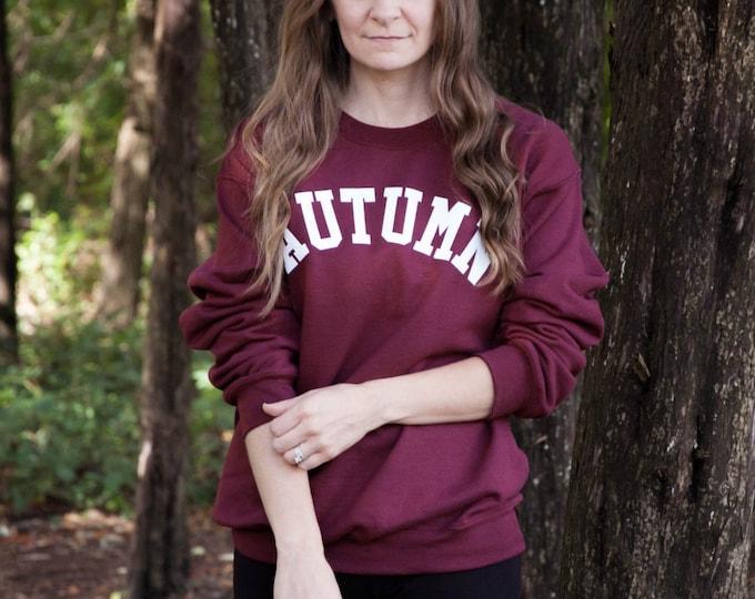Featured listing image: Autumn Fall Lettering Maroon Crewneck Sweatshirt / AUTUMN