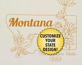 Montana Customizable Hand Embroidery Pattern - digital PDF of line art motifs to stitch your own personalized state project