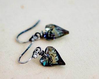 Crystal Earrings, Heart Crystal, Dangle Earrings, Heart Earrings, Steal Crystal, Wire Wrapped, Swarovski Crystal, Swarovski Earrings,