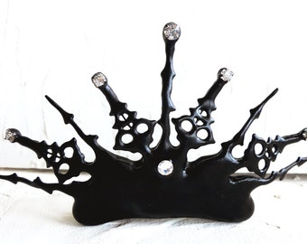 Unique steampunk tiara made with black Clock hands gothic evil queen night circus labyrinth inspired for that elegant Fall Halloween  bride