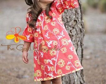 Girls Floral Peasant Dress -Girls Back to School Dress - Coral Dress -Yellow Flower Dress