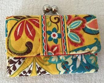 Vera Bradley Clutch Wallet Yellow, Aqua,and Orange Womens Quilted Vera Bradley Wallet