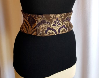 LAST ONE Brown and Purple Tapestry Waist Cincher Obi Corset Belt Size XS
