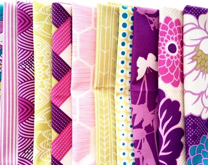 Joel Dewberry Bungalow fabric: fat quarter set of 11, Bramble palette