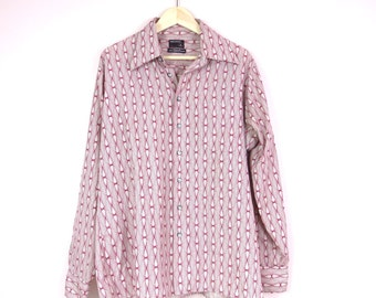 Mens Disco Shirt | 1970s Pale Gray Geometric Print Men's Shirt | 70s Mod Hipster Shirt