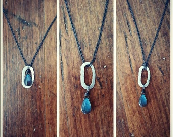 Three-In-One Hammered Silver Link Necklace With Labradorite