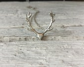 Deer antler necklace-Sterling silver animal jewelry -Reindeer pendant -Gift for her-Deer Jewelry