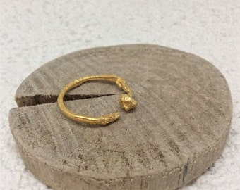 Gold twig ring -Woodland jewelry -Tree ring-Branch Engagement ring-Adjustable  ring-Stacking ring-Gift for her