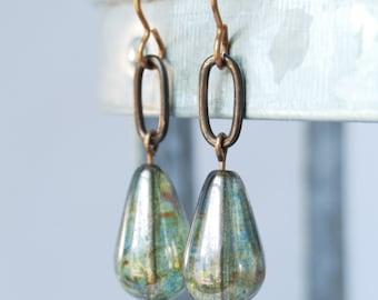 modern mossy green Czech glass natural brass earrings by CURRICULUM