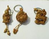 Happy Buddha  Ho Tai / Prosperity Buddha Amulet Carved Natural Wood Key Chain Fob