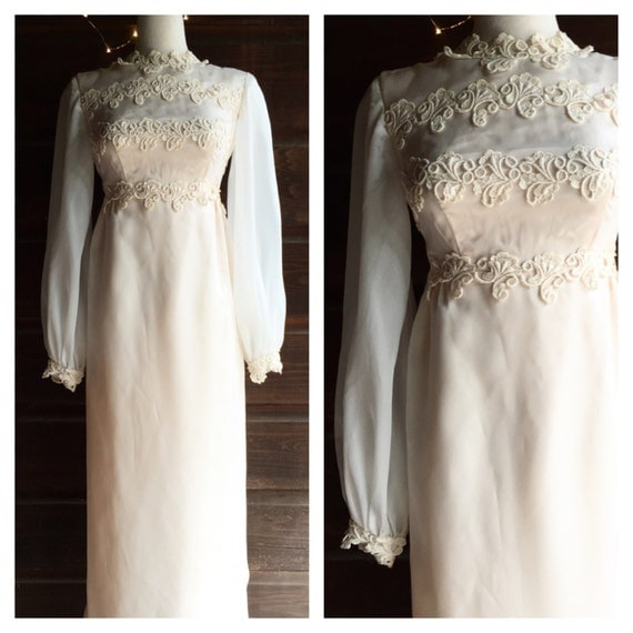 Vintage Wedding Dresses 1960s: 1960s 1970s Wedding Dress Vintage 1960s 1970s Dress By