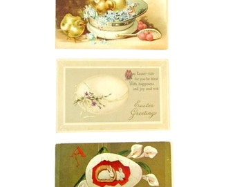 Antique Easter postcards - Lot of 3 - Chicks - Bunnies - Egg - Early 1900s