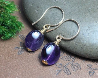 Amethyst Earrings Purple Earrings Amethyst Purple Gemstone Gold Earrings