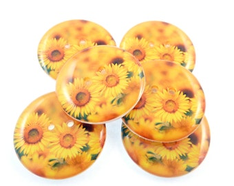 """6  Sunflower Buttons.  LARGE Sewing Buttons. 1"""" or 25 mm Round.  Handmade By Me. Washer and Dryer Safe."""