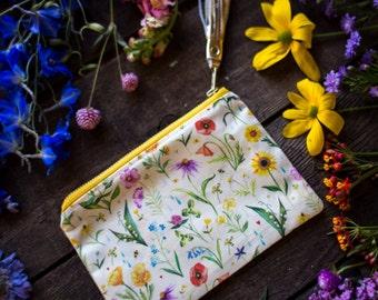 Cream Wildflower Pouch - Handmade Bag - Katie Daisy Painting