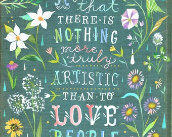 Love People art print   Botanical watercolor painting   Floral Border   Van Gogh QUote   Katie Daisy   8x10   11x14